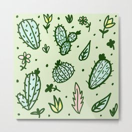 Cactus Collage Metal Print