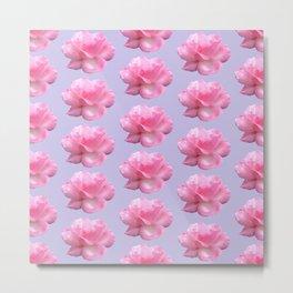 Pink Rose Pattern on Blue Metal Print