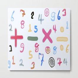 colorful drawing numbers and math symbol Metal Print