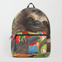 Sloth among exotic flowers Backpack