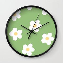 Retro 60's Flower Power Print Wall Clock