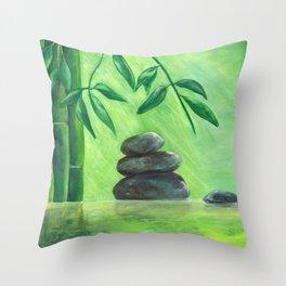 Bamboo Pond Throw Pillow