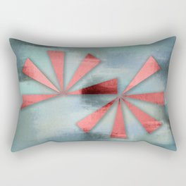 Red Triangles on Blue Grey Backdrop Rectangular Pillow