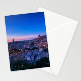 Panoramic view of the medieval center of the city of Toledo, Spain. Stationery Cards