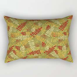 Green Red Yellow Leaf And Seeds Silhouettes Rectangular Pillow