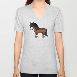 Brown Shetland Pony Cute Cartoon Illustration Unisex V-Neck