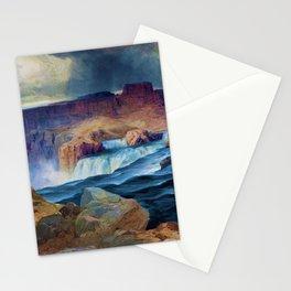 Horseshoe Falls, Snake River, Idaho waterfall landscape painting by Thomas Moran Stationery Cards