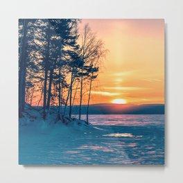 Winter sunset and the sun pillar Metal Print