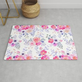 Pink lavender watercolor hand painted roses floral Rug
