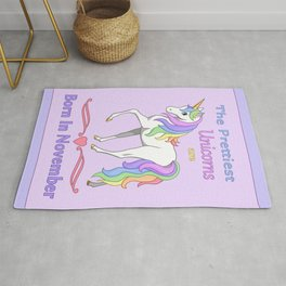 Pretty Rainbow Unicorn Born In November Birthday Girl Rug