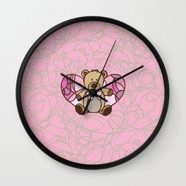 Teddy Bear Angel Wall Clock