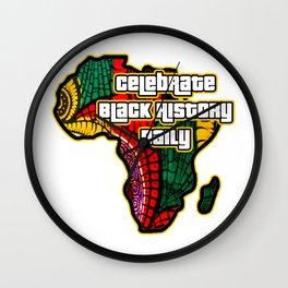 Celebrate Black History Daily African Fabric Collage Wall Clock