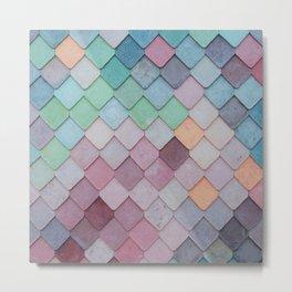 Elegant Pastel Ombre Scale Tile Print Boho Retro Antique Metal Print