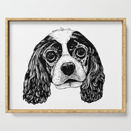 Cavalier King Charles Spaniel Dog Drawing Serving Tray