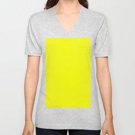 Brightest Yellow Solid Color Plain Simple Lemon Unisex V-Neck