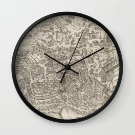 Vintage Pictorial Map of Rome Italy (1575) Wall Clock