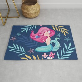 Pretty mermaid design with flowers. Rug