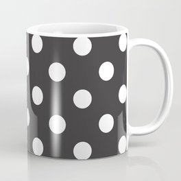 XX Large White on Dark Grey Polka Dots Coffee Mug