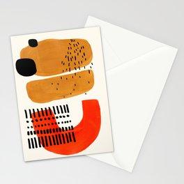 Mid Century Modern Abstract Minimalist Retro Vintage Style Fun Playful Ochre Yellow Ochre Orange  Stationery Cards