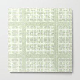 Nappy Faux Velvet Framed Weave in Pale Lime Green Metal Print