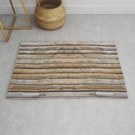 Wood Effects Raw Wood Log Cabin Lodge Rustic Rug