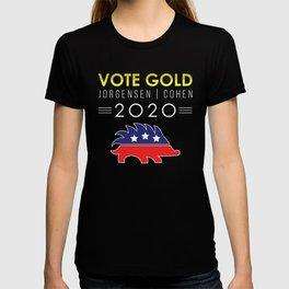 Vote Gold Libertarian Porcupine Jorgensen Cohen 2020 print T-shirt
