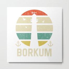 Borkum Beacon Vacation TShirt North Sea Shirt Nordsee Gift Idea  Metal Print