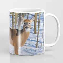 Deer in the Wintery Woods by Reay of Light Photography Coffee Mug