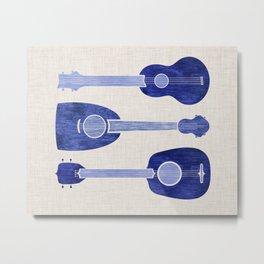 Indigo Blue Ukuleles Metal Print