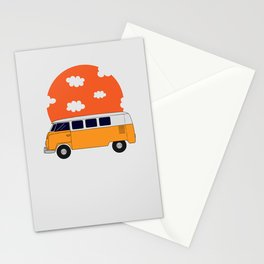yellow retro minivan with orange circle Stationery Cards
