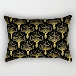 Vintage Hollywood Elegant Gold and Black Art Deco Rectangular Pillow