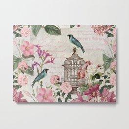 Nostalgic Birds And Flowers Metal Print