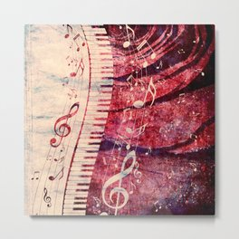 Illustration of a piano keys with musical notes and red rose Metal Print