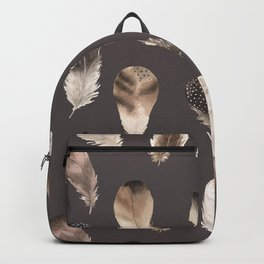 Beautiful Watercolor Feathers on Grey in Cream No. 3 Backpack