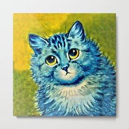 BLUE CAT - Louis Wain Art Metal Print