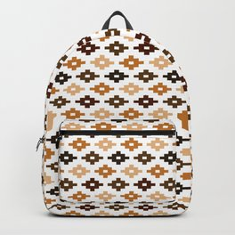 Geometric Flower Cross Stitch Appearance - Tan Brown On White Backpack