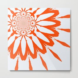 The Modern Flower White & Orange Metal Print
