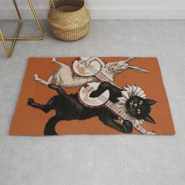 Black Cat & White Hare Musicians Rug