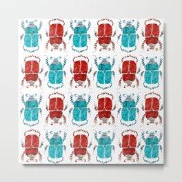 cute watercolour beetle pattern Metal Print