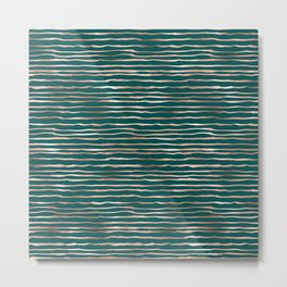 Teal & Bronze Stripe Pattern Metal Print