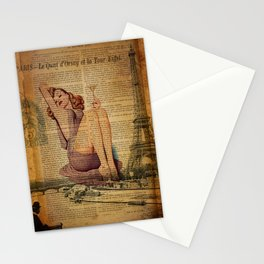 vintage newspaper print paris eiffel tower pin up girl Stationery Cards