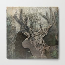Gothic Forest Deer Metal Print
