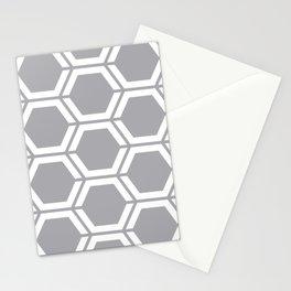 Silver (Metallic) - grey - Geometric Polygon Pattern Stationery Cards