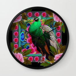 GORGEOUS GREEN PEACOCK &  PINK ROSE FLOWERS ART Wall Clock