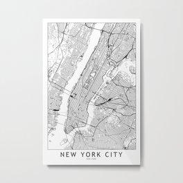 New York City White Map Metal Print