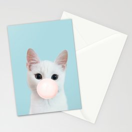 Bubble gum cat in blue Stationery Cards