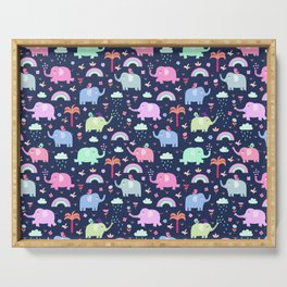 Pink navy blue neo mint rainbow elephant floral pattern Serving Tray