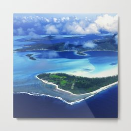 Tropical French Polynesia: View From Open Doors of Helicopter Metal Print