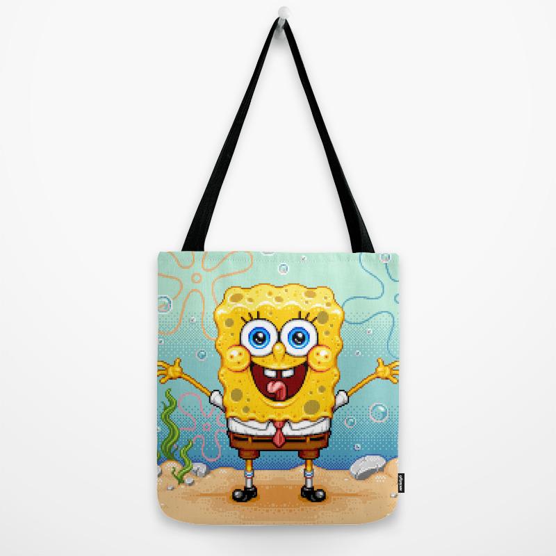 Spongebob Pixel Art Tote Bag By Paxjah Society6