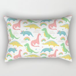 Dinosaurs + Rainbows in Pink Rectangular Pillow